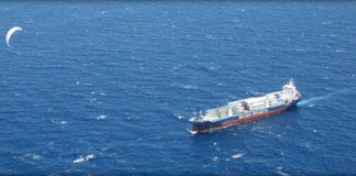 kite powered cargo ship with sail