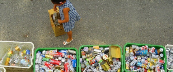 Girl Recycling Cans