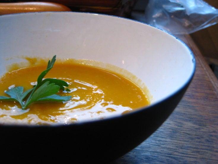 creamy squash coconut lentil soup