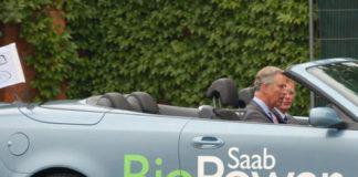 Prince Charles in Saab BioPower Car