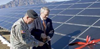 Solar panel ribbon cutting at Fort Carson
