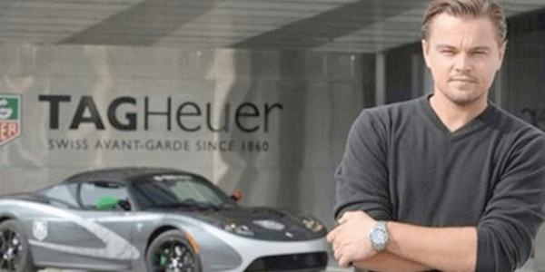 Leonardo DiCaprio and Tesla Roadster