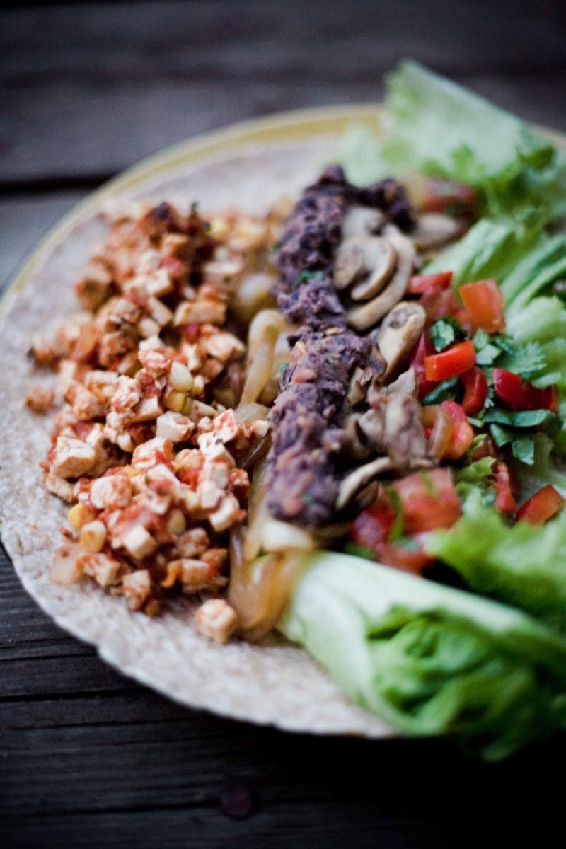 vegan tofu chipotle lunch wrap