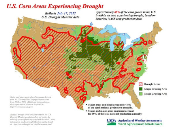 US corn areas drought