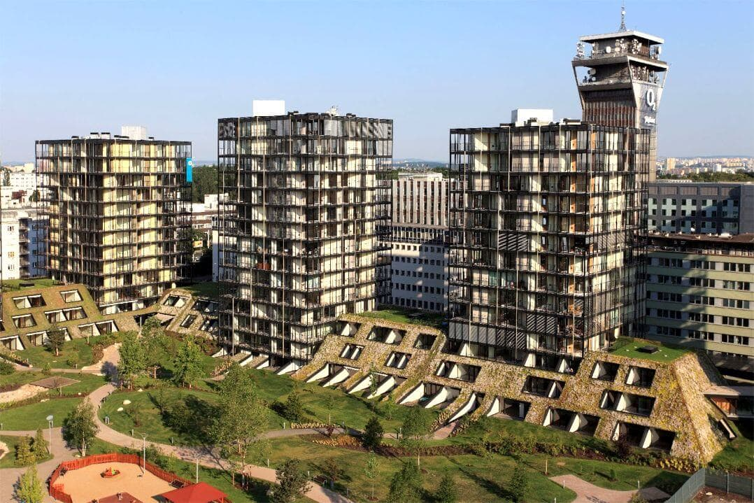 Prague s newest eco building and its impressive green roof for Central prague
