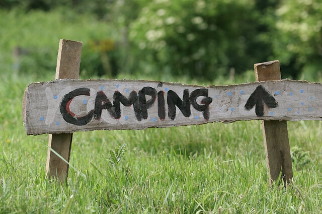 A homemade camping sign