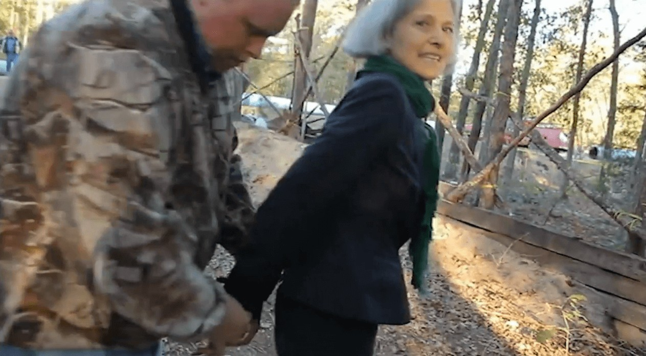 "Green Party Presidential candidate Dr. Jill Stein gets arrested on site at Winnona, TX in support of the ""courage"" of Tar Sands Blockade group members and movement against KXL."
