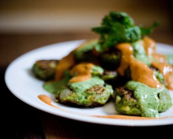 Vegan Avocado Pancakes with Chipotle and Cilantro Sauces 2
