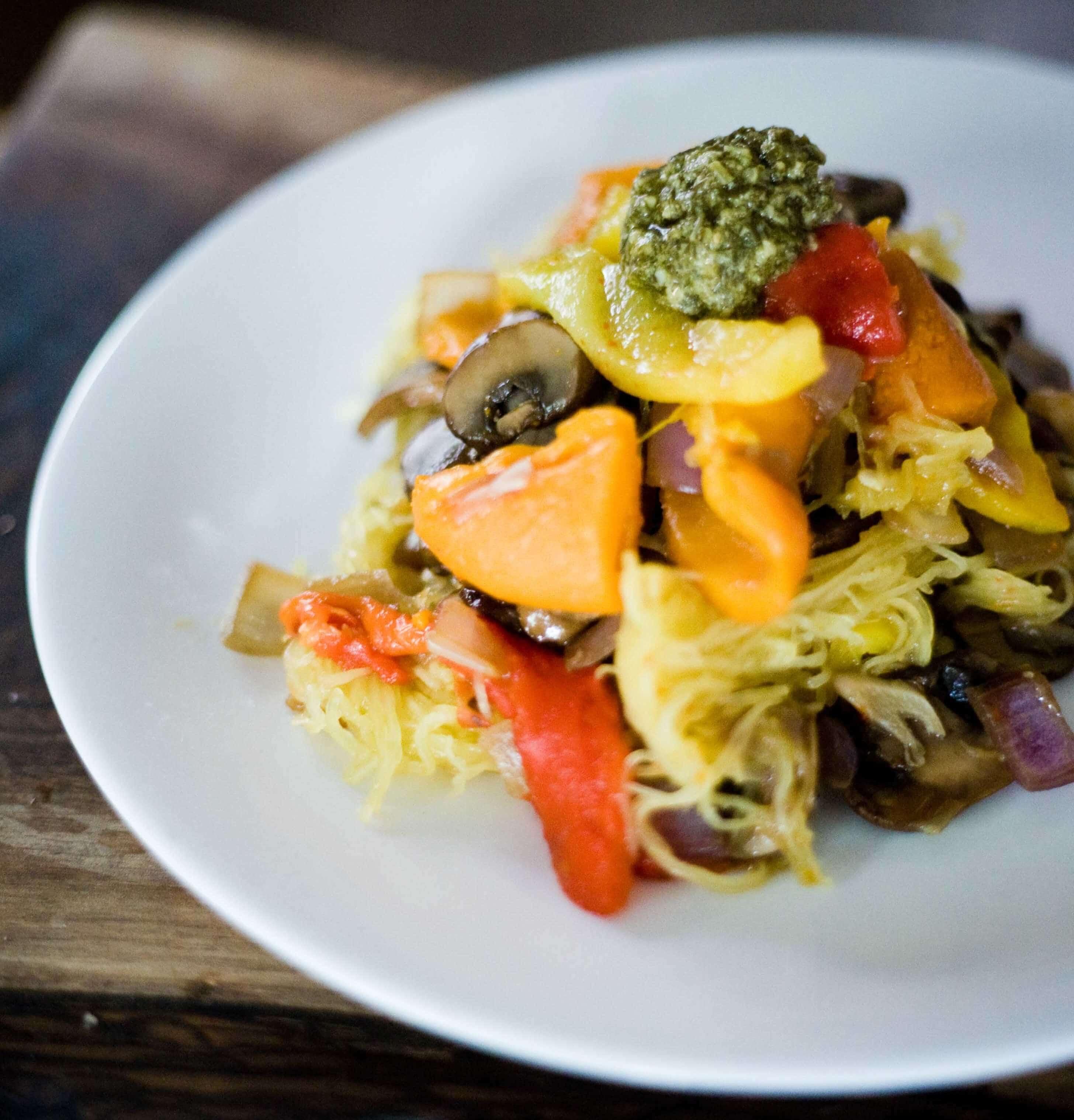 Spaghetti Squash with Pesto, Mushrooms and Roasted Peppers Recipe