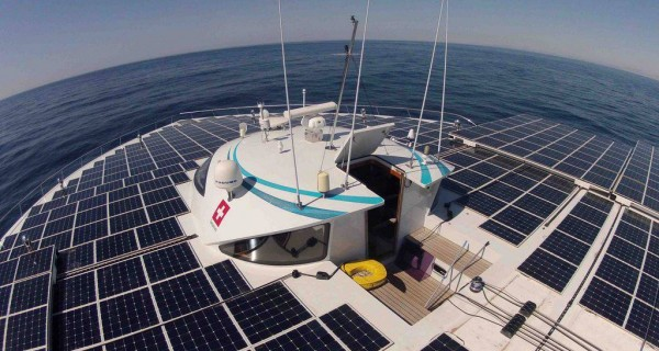 solar panels on PlanetSolar boat