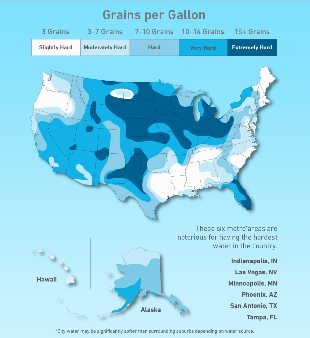 Map of distribution of hard water vs soft water in the United States