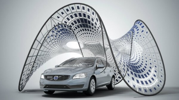 Volvo pure tension solar charging canopy