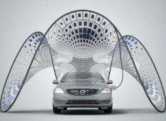 Volvo solar charging canopy