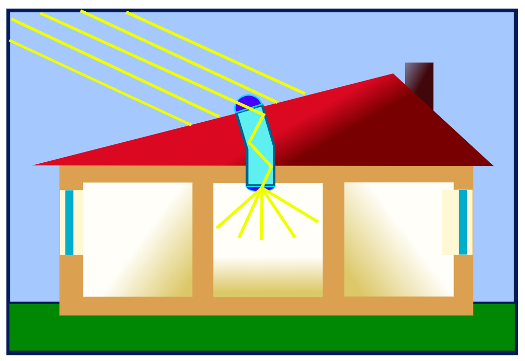 natural light shining into house via solar tube