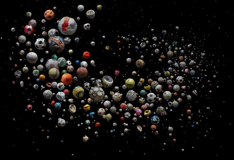 Mandy Barker Penalty soccer ball art from the UK