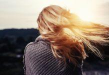 blonde hair blowing in wind