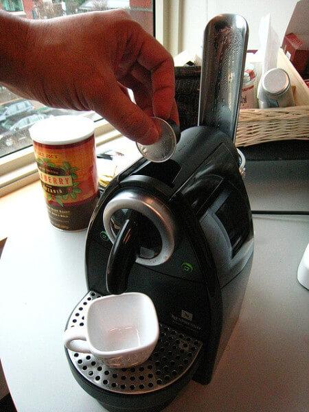 making espresso with a coffee pod