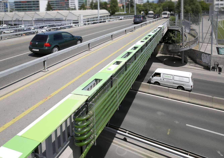 Urban algae farm over highway