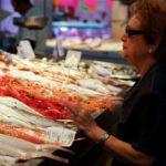 buying shrimp at a seafood market