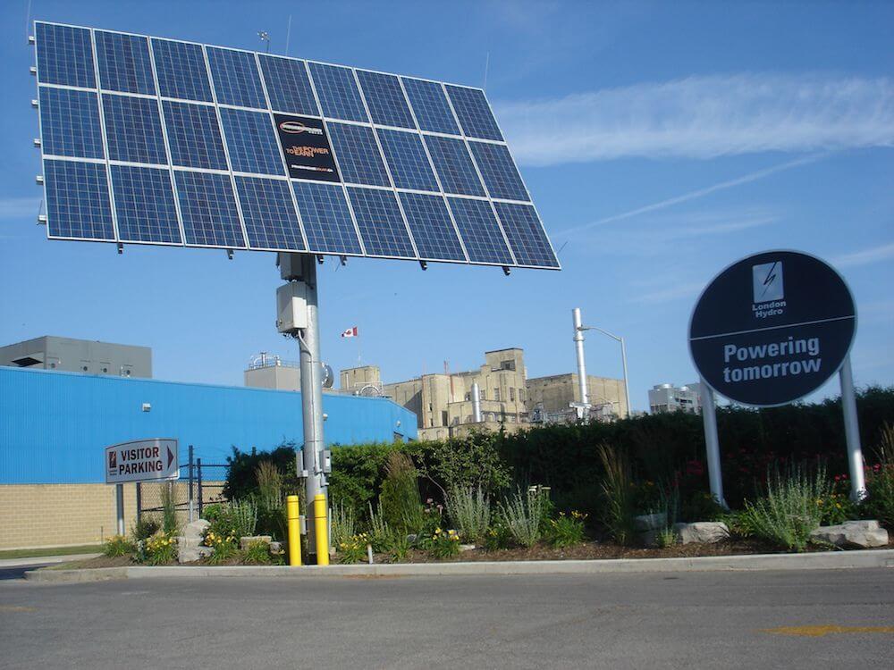 solar panels at Labatt parking lot in London, Ontario, Canada
