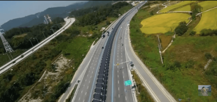 solar panel bike lane on south korea highway