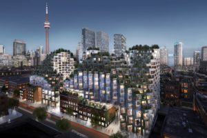 Bjarke Ingels sustainable architecture project in Toronto At Night