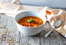 vegan lentil and vegetable soup in a bowl