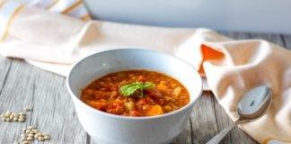 vegan lentil and vegetable soup in a bowl