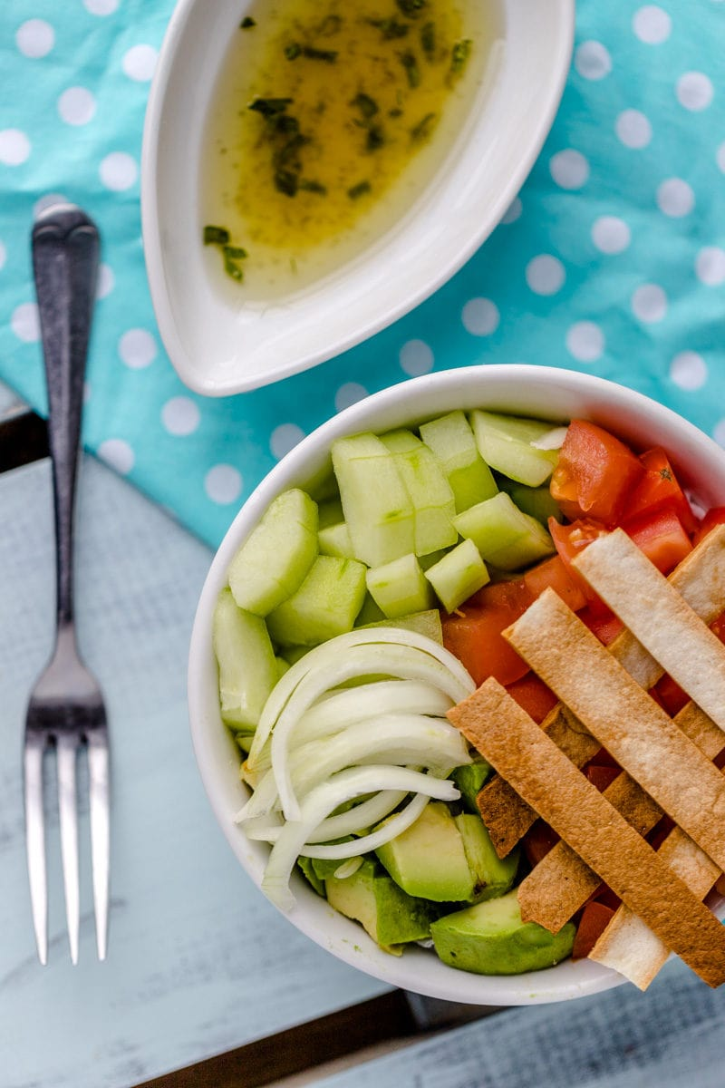 avocado salad with tortilla strips